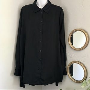 Who What Wear High-Low Hem Button Down Blouse